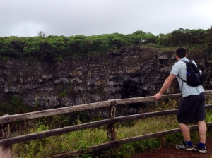 Paddy overlooking a crater